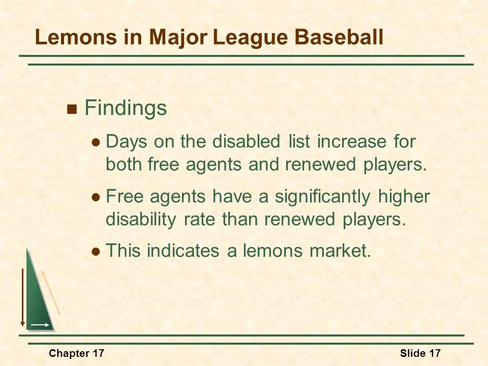 Chapter 17Slide 18 Question If you are a team owner, what steps would you take to reduce the asymmetric information for free agents.