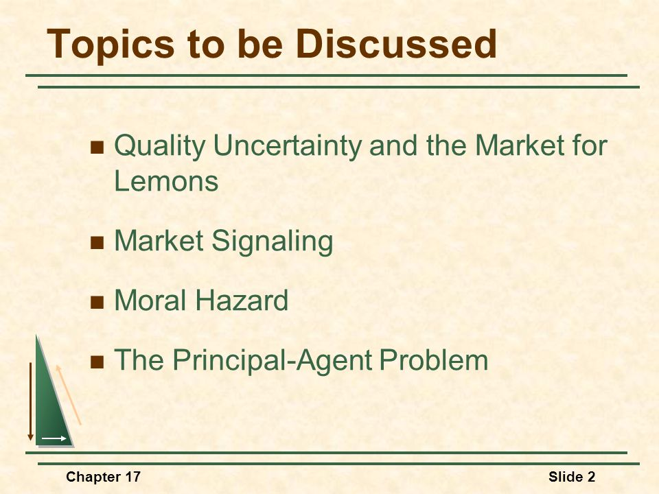 Chapter 17Slide 2 Topics to be Discussed Quality Uncertainty and the Market for Lemons Market Signaling Moral Hazard The Principal-Agent Problem