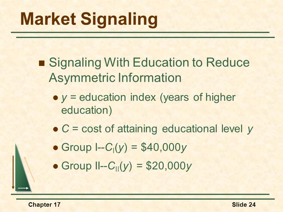 Chapter 17Slide 24 Market Signaling Signaling With Education to Reduce Asymmetric Information y = education index (years of higher education) C = cost