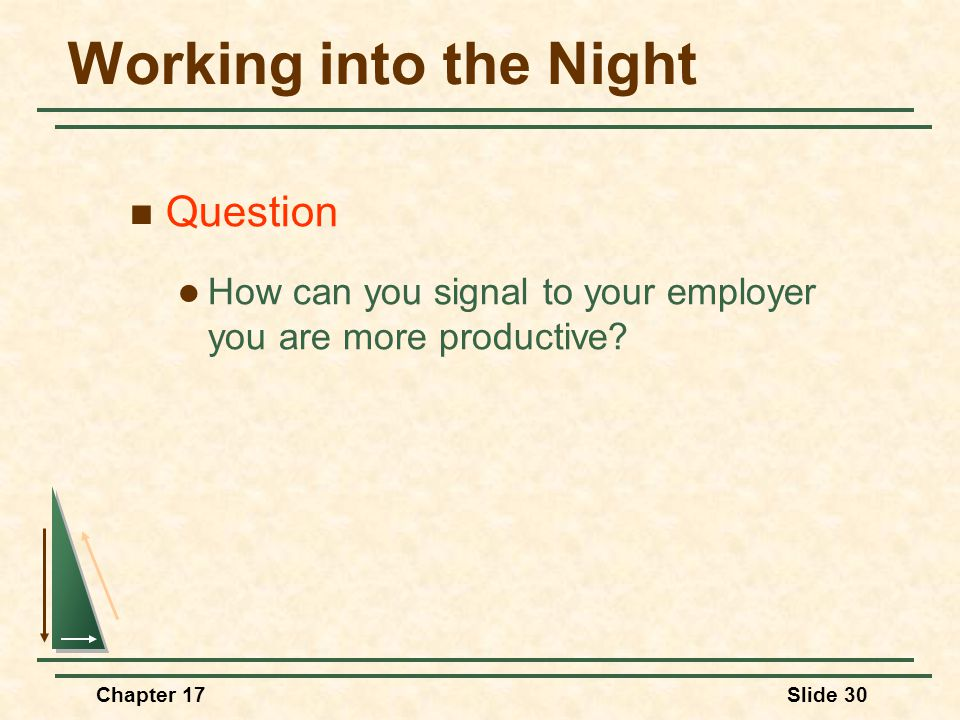 Chapter 17Slide 30 Working into the Night Question How can you signal to your employer you are more productive?