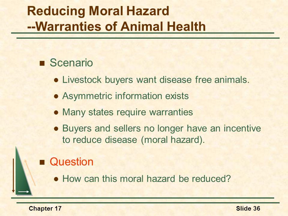 Chapter 17Slide 36 Reducing Moral Hazard --Warranties of Animal Health Scenario Livestock buyers want disease free animals.