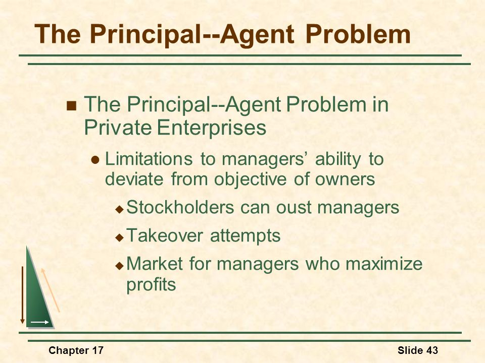 Chapter 17Slide 44 The Principal--Agent Problem The Principal--Agent Problem in Public Enterprises Observations  Managers' goals may deviate from the agencies goal (size)  Oversight is difficult (asymmetric information)  Market forces are lacking
