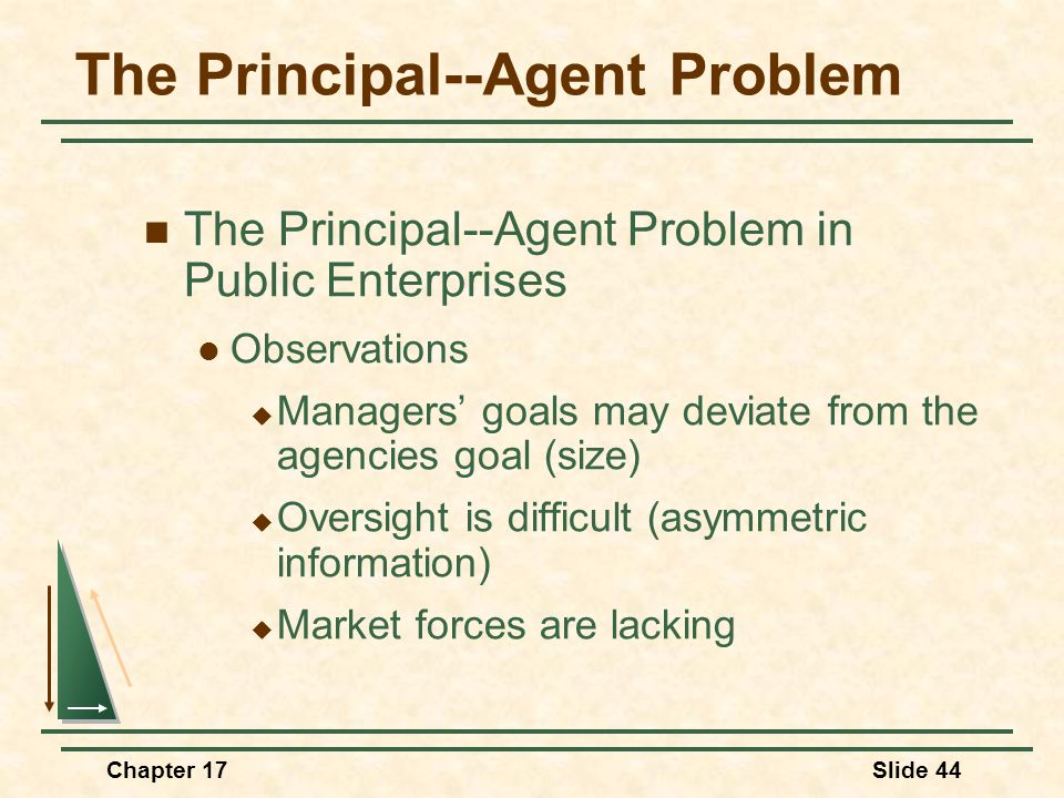 Chapter 17Slide 44 The Principal--Agent Problem The Principal--Agent Problem in Public Enterprises Observations  Managers' goals may deviate from the