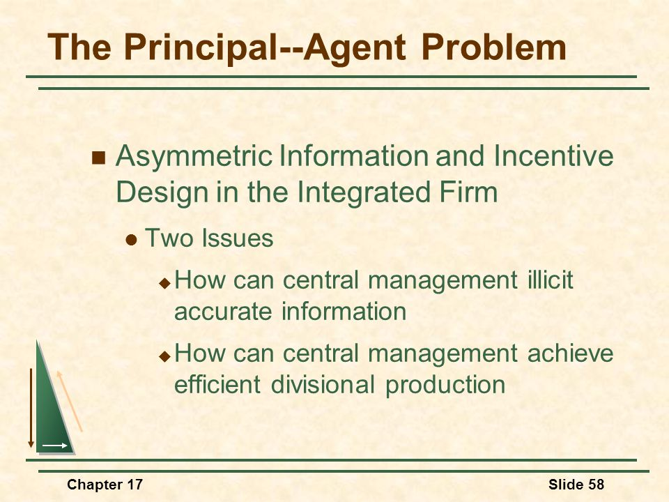 Chapter 17Slide 59 The Principal--Agent Problem Possible Incentive Plans Bonus based on output or profit  Will this plan provide an incentive for accurate information?