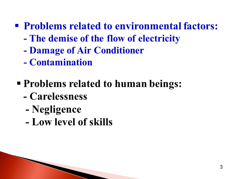 3  Problems related to environmental factors: - The demise of the flow of electricity - Damage of Air Conditioner - Contamination  Problems related to human beings: - Carelessness - Negligence - Low level of skills