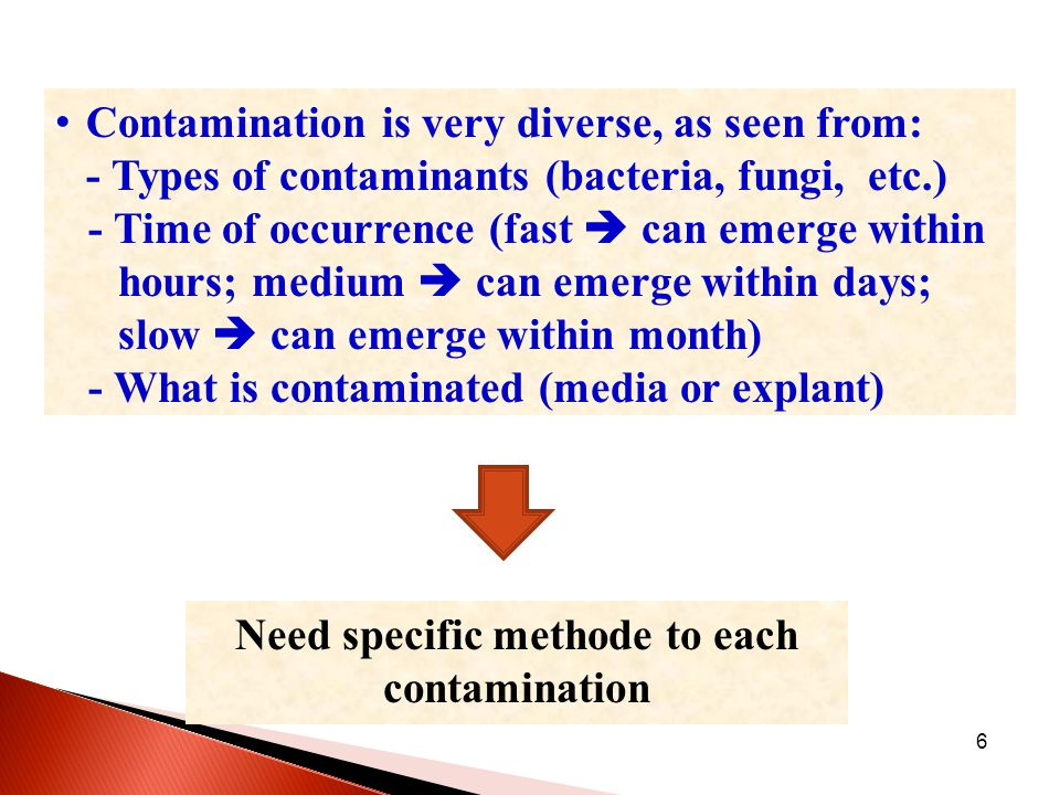 6 Contamination is very diverse, as seen from: - Types of contaminants (bacteria, fungi, etc.) - Time of occurrence (fast  can emerge within hours; medium  can emerge within days; slow  can emerge within month) - What is contaminated (media or explant) Need specific methode to each contamination
