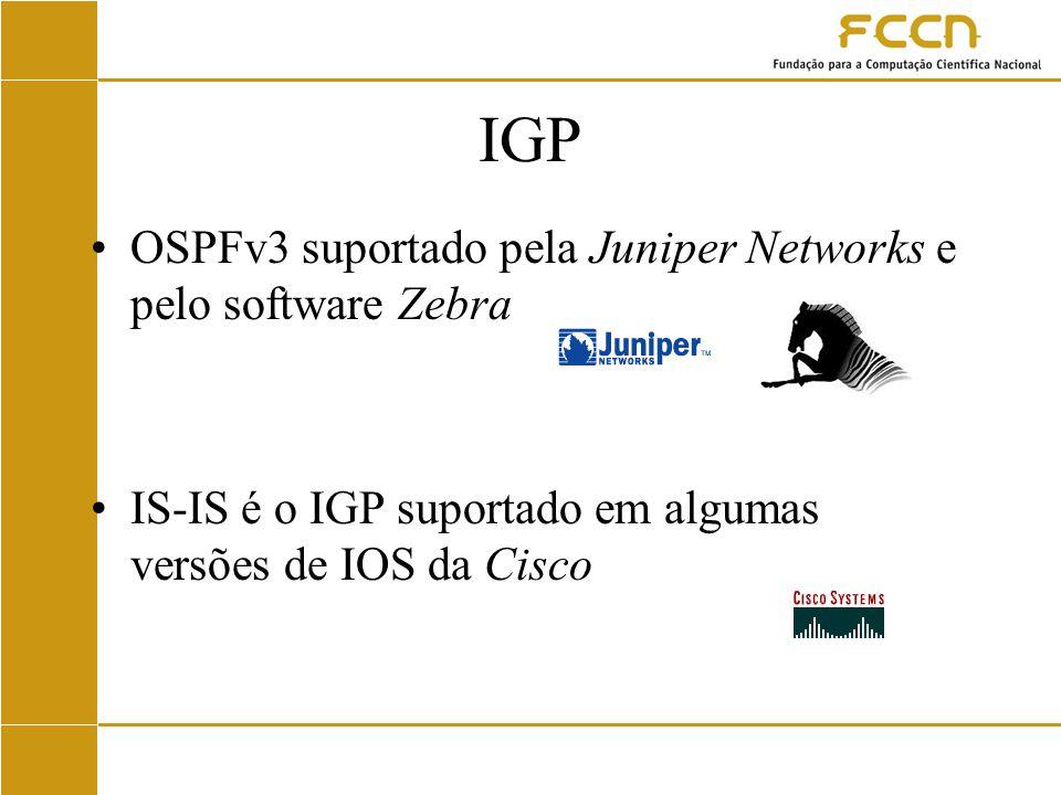 IGP OSPFv3 suportado pela Juniper Networks e pelo software Zebra IS-IS é o IGP suportado em algumas versões de IOS da Cisco