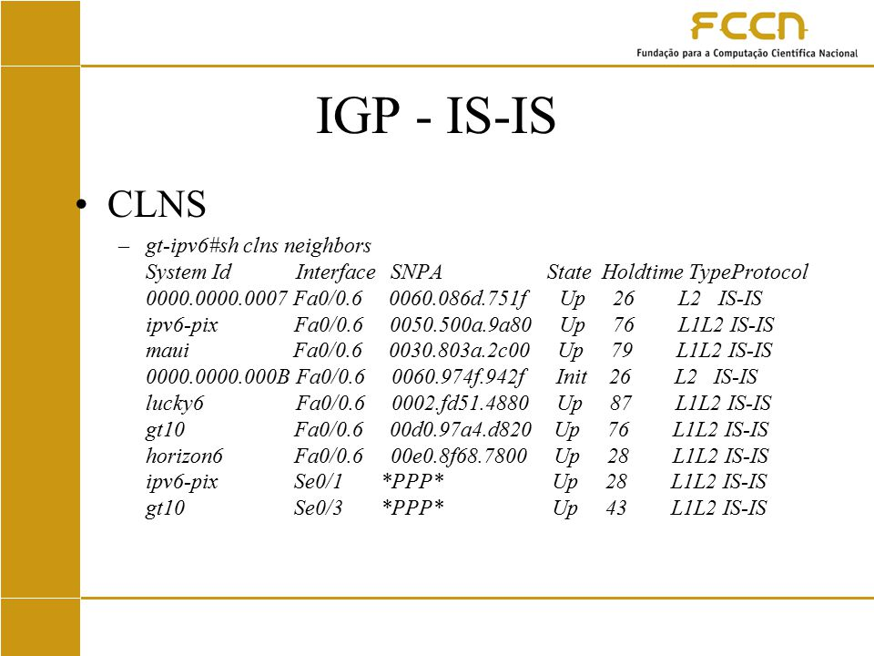 IGP - IS-IS CLNS –gt-ipv6#sh clns neighbors System Id Interface SNPA State Holdtime TypeProtocol 0000.0000.0007 Fa0/0.6 0060.086d.751f Up 26 L2 IS-IS