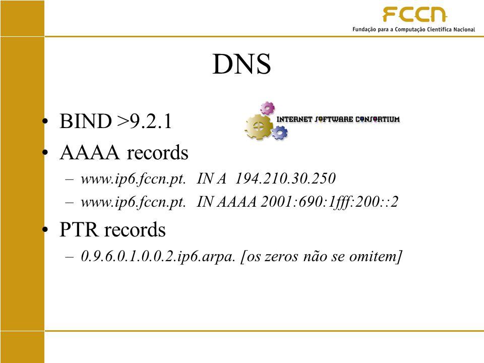 DNS BIND >9.2.1 AAAA records –www.ip6.fccn.pt. IN A194.210.30.250 –www.ip6.fccn.pt.
