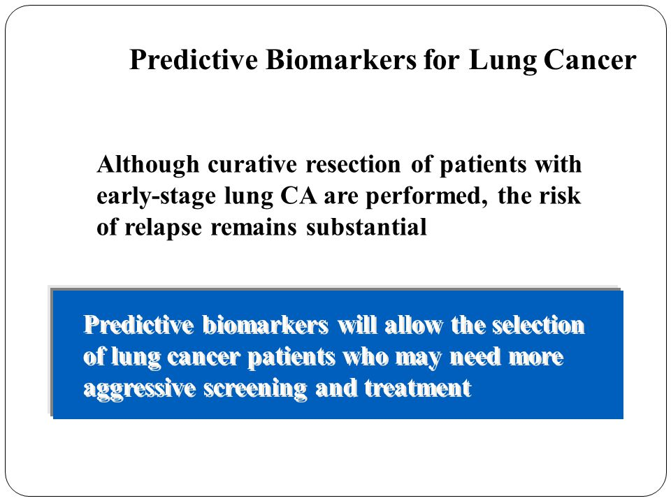 Predictive Biomarkers for Lung Cancer Current Status / Perspectives: Although curative resection of patients with early-stage lung CA are performed, t