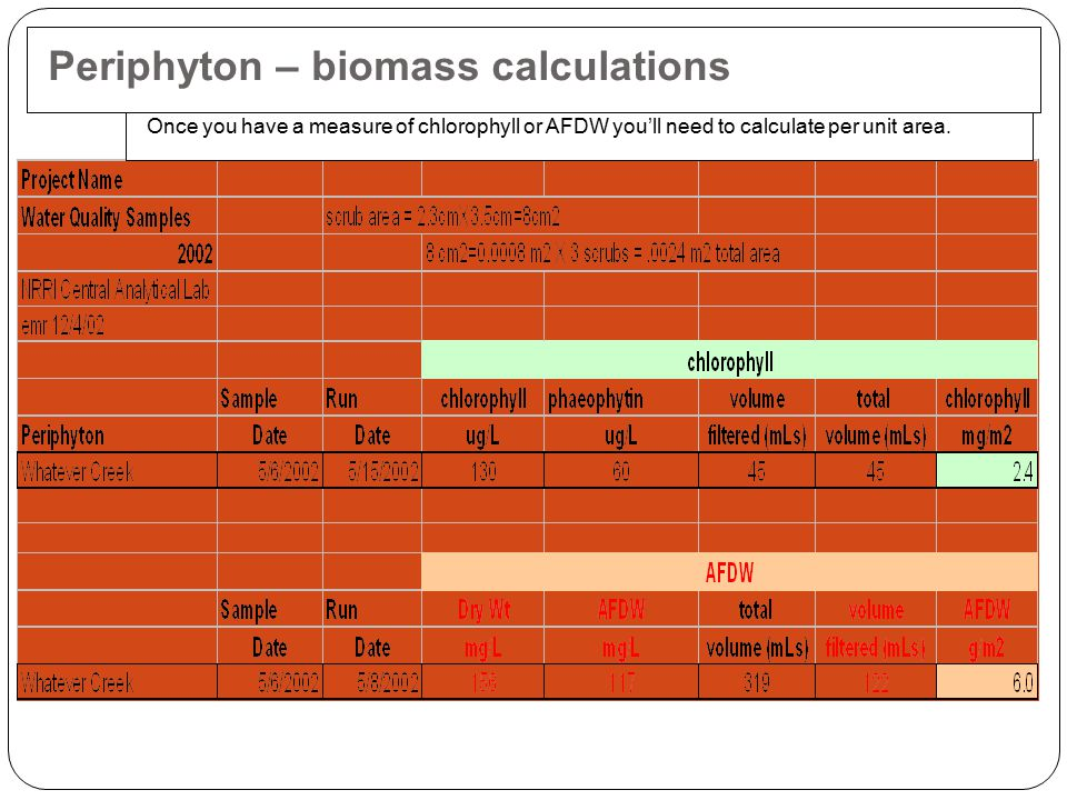 Once you have a measure of chlorophyll or AFDW you'll need to calculate per unit area. Periphyton – biomass calculations