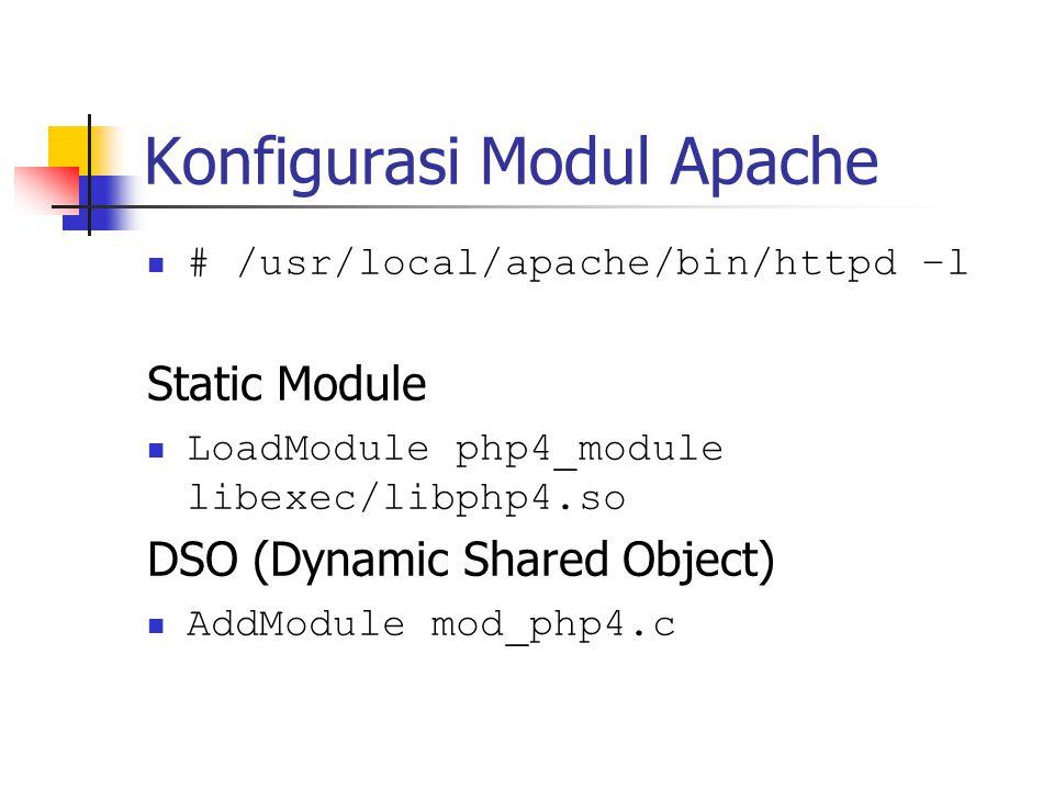 Konfigurasi Modul Apache # /usr/local/apache/bin/httpd –l Static Module LoadModule php4_module libexec/libphp4.so DSO (Dynamic Shared Object) AddModule mod_php4.c