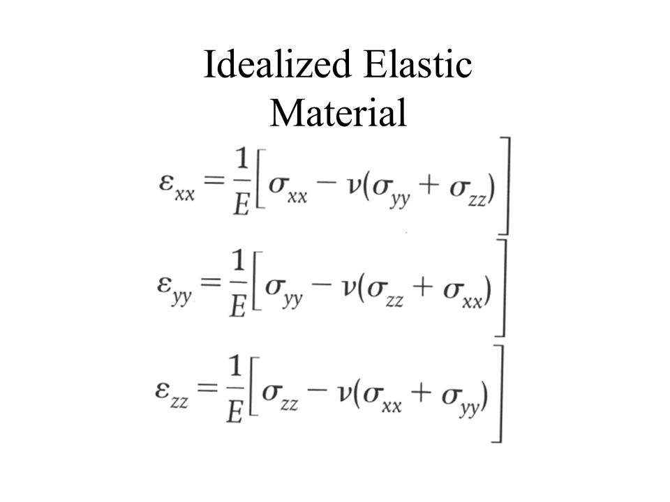 Elastic constants Lame's constant Describes effects of dilatation on tensile stress Shear modulus Relates shear strain to shear stress Bulk modulus Relates volumetric strain to mean stress E is Young's modulus which is the ratio of axial stress to axial strain V is Poisson's ratio which is the negative of the ratio of transverse to longitudinal strain --You only need two moduli to get the others
