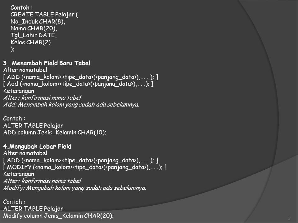 Contoh : CREATE TABLE Pelajar ( No_Induk CHAR(8), Nama CHAR(20), Tgl_Lahir DATE, Kelas CHAR(2) ); 3.