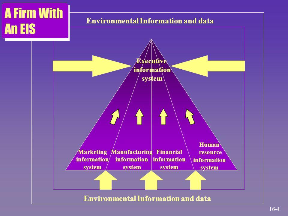 Environmental Information and data Marketing information system Manufacturing information system Financial information system Human resource informati