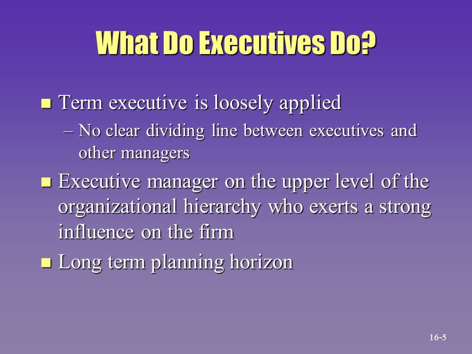 What Do Executives Do? n Term executive is loosely applied –No clear dividing line between executives and other managers n Executive manager on the up