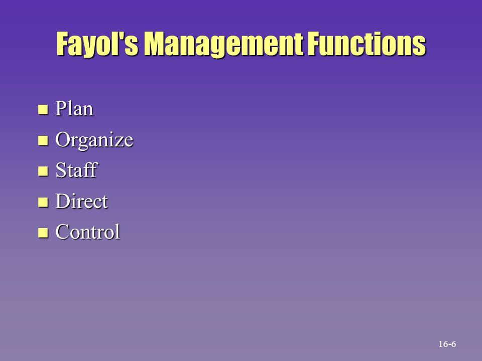 Fayol's Management Functions n Plan n Organize n Staff n Direct n Control 16-6