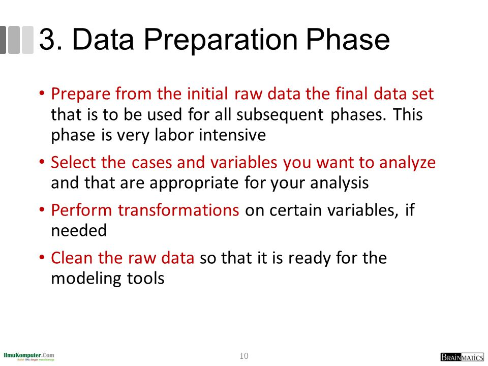 3. Data Preparation Phase Prepare from the initial raw data the final data set that is to be used for all subsequent phases. This phase is very labor