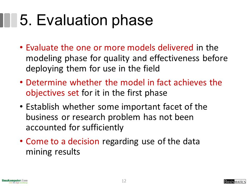 5. Evaluation phase Evaluate the one or more models delivered in the modeling phase for quality and effectiveness before deploying them for use in the