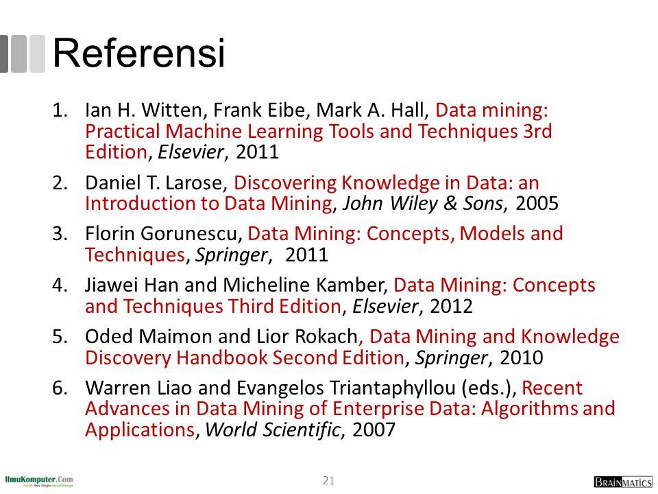 Referensi 1.Ian H. Witten, Frank Eibe, Mark A.