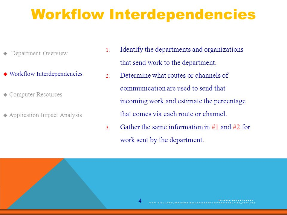 4 Workflow Interdependencies  Department Overview  Workflow Interdependencies  Computer Resources  Application Impact Analysis 1.