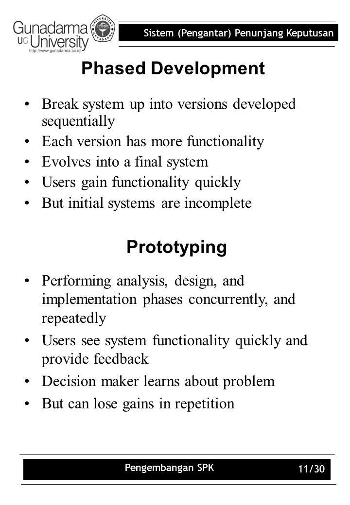 Sistem (Pengantar) Penunjang Keputusan Pengembangan SPK 11/30 Phased Development Break system up into versions developed sequentially Each version has
