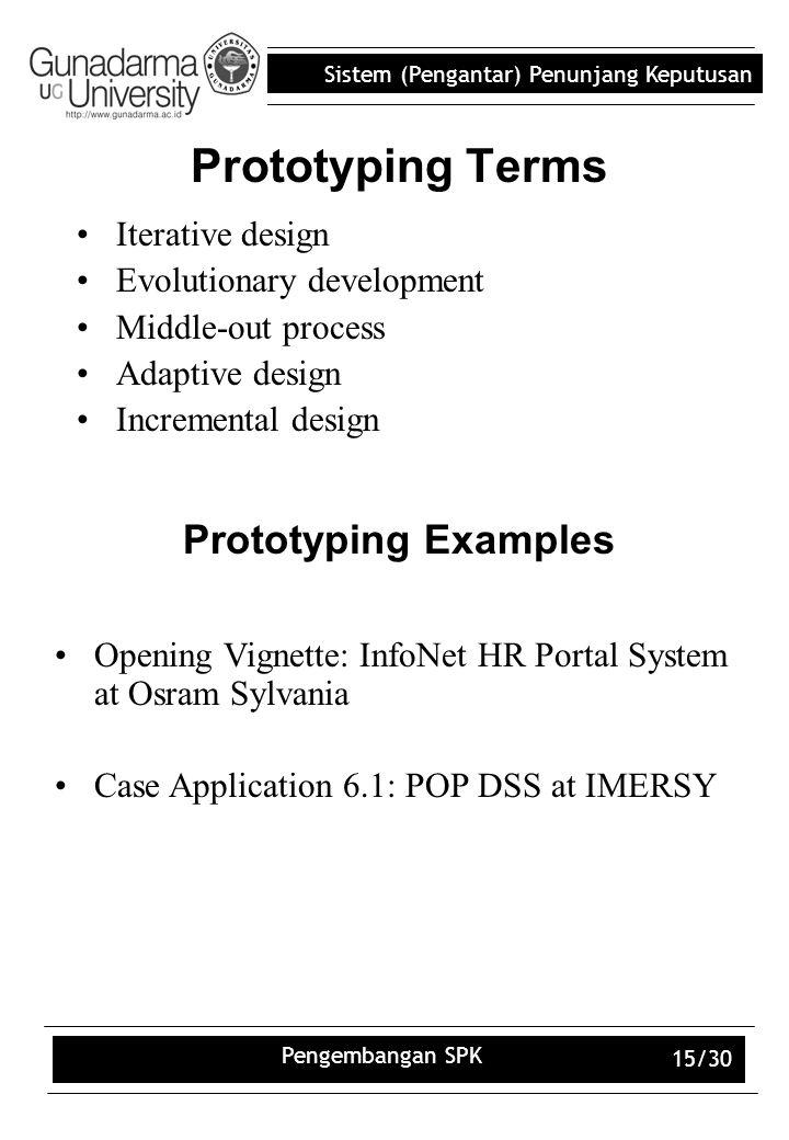 Sistem (Pengantar) Penunjang Keputusan Pengembangan SPK 15/30 Prototyping Terms Iterative design Evolutionary development Middle-out process Adaptive