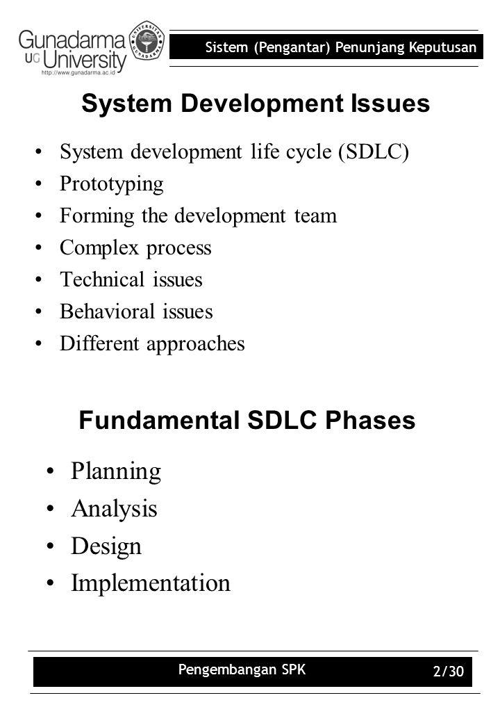 Sistem (Pengantar) Penunjang Keputusan Pengembangan SPK 2/30 System Development Issues System development life cycle (SDLC) Prototyping Forming the de