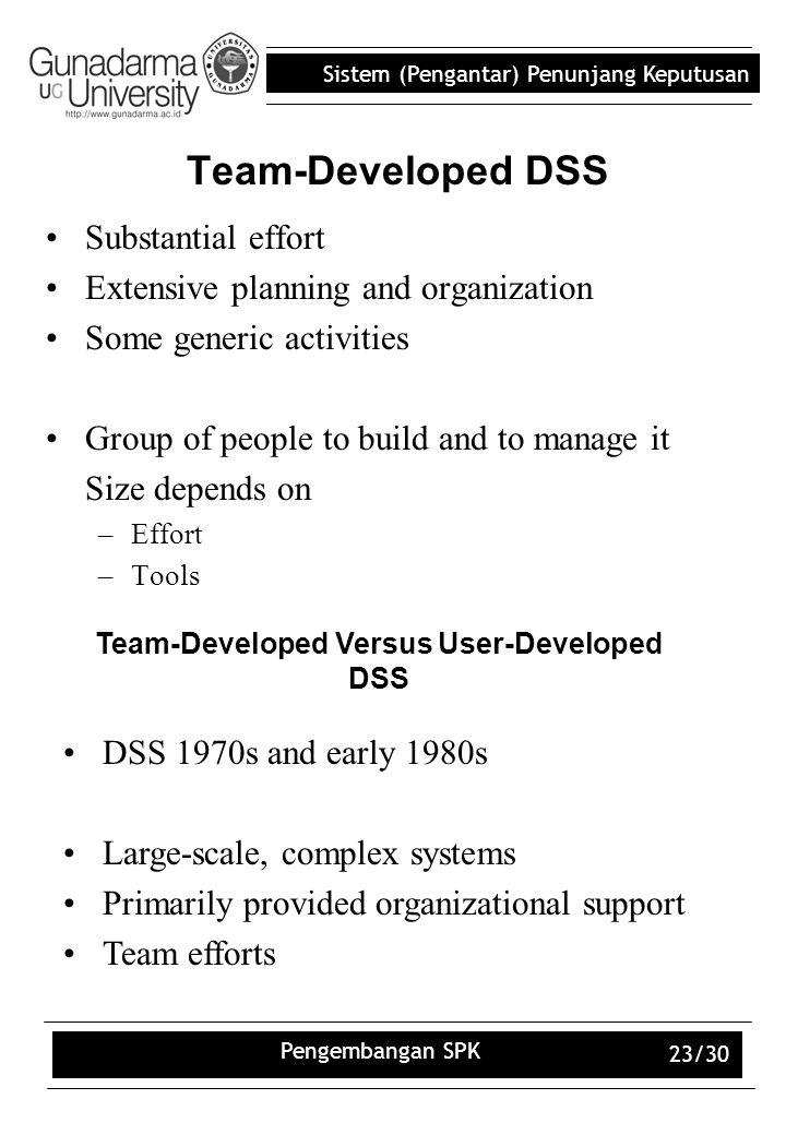 Sistem (Pengantar) Penunjang Keputusan Pengembangan SPK 23/30 Team-Developed DSS Substantial effort Extensive planning and organization Some generic a
