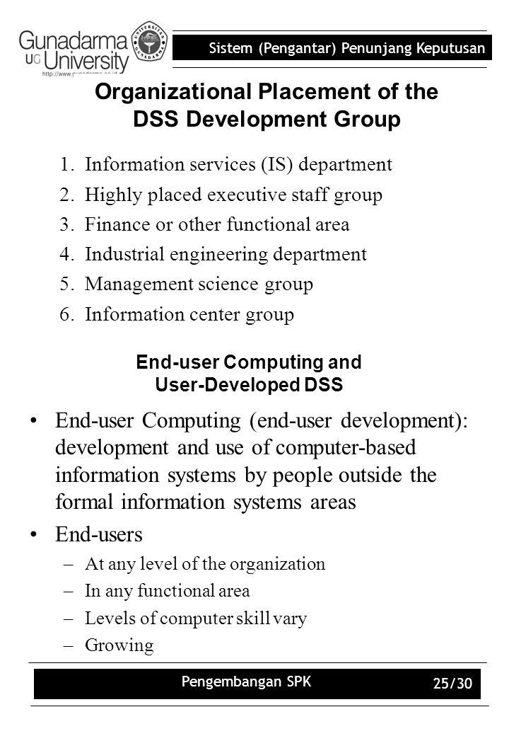 Sistem (Pengantar) Penunjang Keputusan Pengembangan SPK 25/30 Organizational Placement of the DSS Development Group 1.Information services (IS) depart