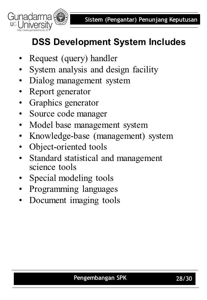 Sistem (Pengantar) Penunjang Keputusan Pengembangan SPK 28/30 DSS Development System Includes Request (query) handler System analysis and design facil