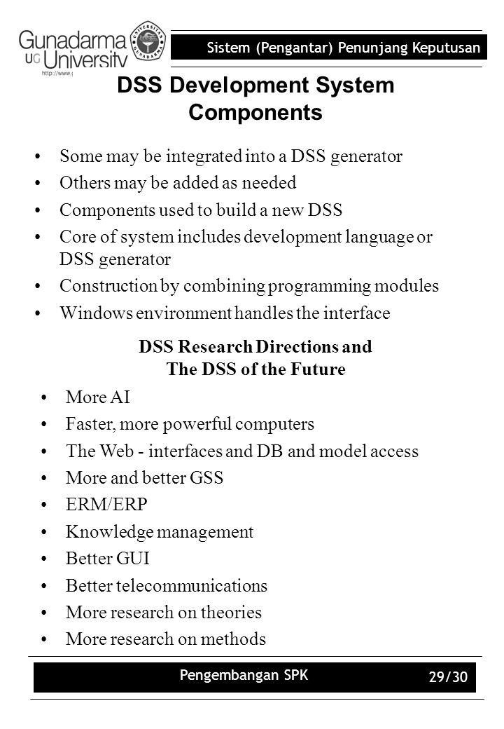 Sistem (Pengantar) Penunjang Keputusan Pengembangan SPK 29/30 DSS Development System Components Some may be integrated into a DSS generator Others may
