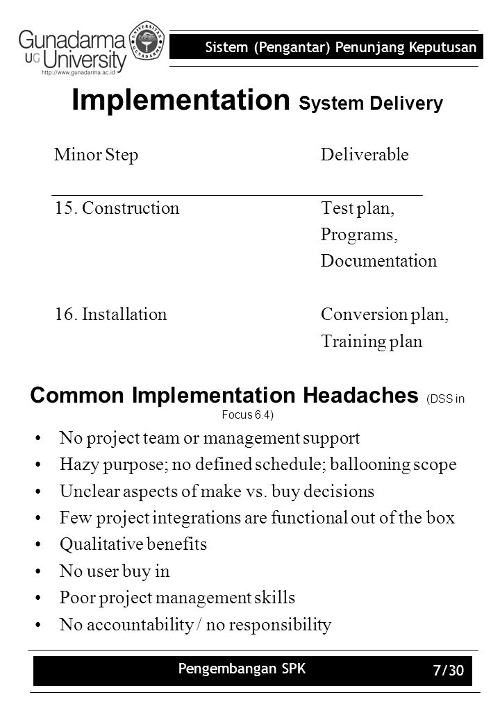 Sistem (Pengantar) Penunjang Keputusan Pengembangan SPK 7/30 Implementation System Delivery Minor StepDeliverable 15. ConstructionTest plan, Programs,