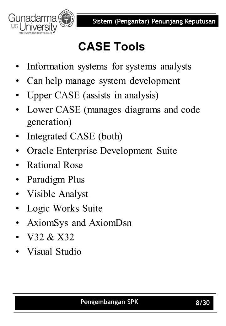 Sistem (Pengantar) Penunjang Keputusan Pengembangan SPK 8/30 CASE Tools Information systems for systems analysts Can help manage system development Up