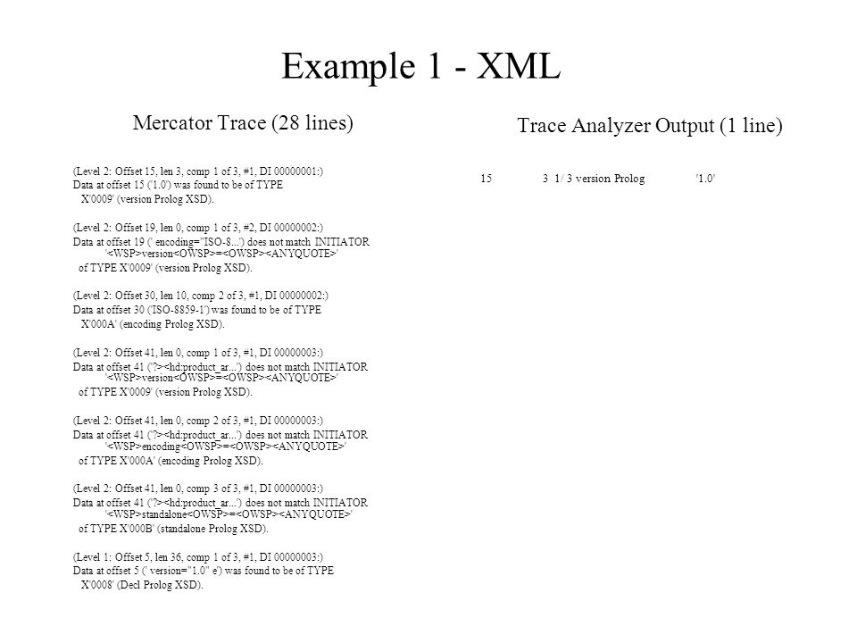 Example 1 - XML Mercator Trace (28 lines) (Level 2: Offset 15, len 3, comp 1 of 3, #1, DI 00000001:) Data at offset 15 ( 1.0 ) was found to be of TYPE X 0009 (version Prolog XSD).