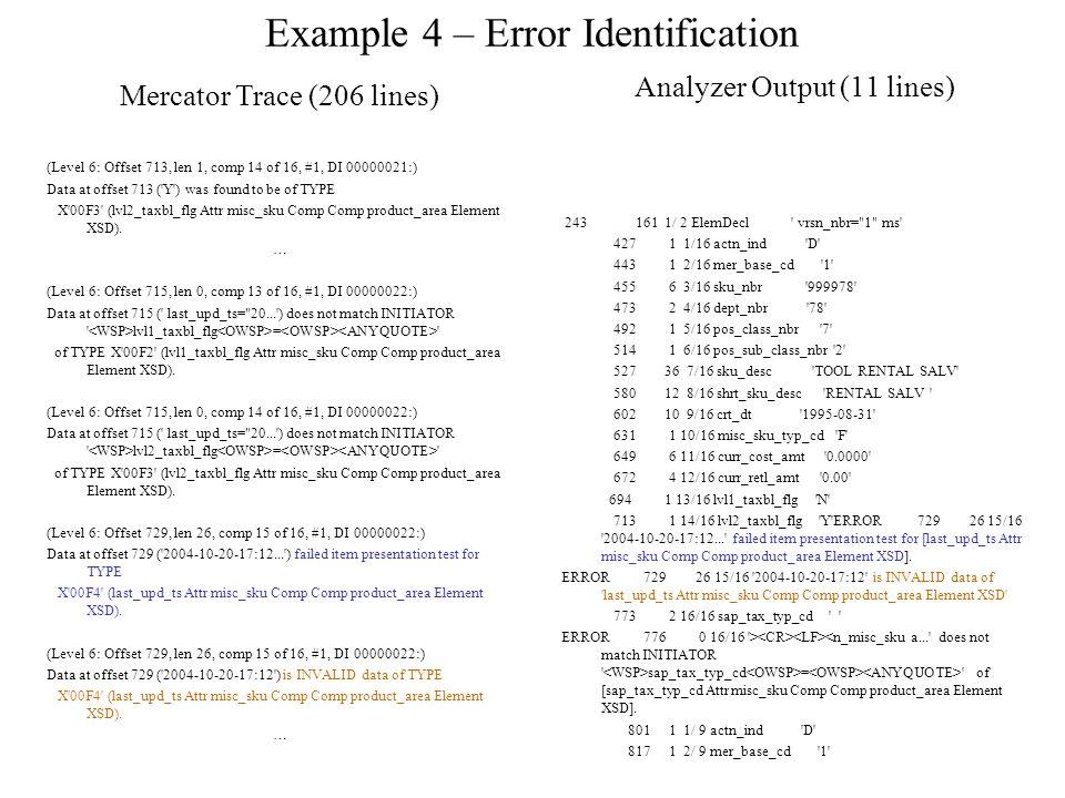 Example 4 – Error Identification Analyzer Output (11 lines) 243 161 1/ 2 ElemDecl vrsn_nbr= 1 ms 427 1 1/16 actn_ind D 443 1 2/16 mer_base_cd 1 455 6 3/16 sku_nbr 999978 473 2 4/16 dept_nbr 78 492 1 5/16 pos_class_nbr 7 514 1 6/16 pos_sub_class_nbr 2 527 36 7/16 sku_desc TOOL RENTAL SALV 580 12 8/16 shrt_sku_desc RENTAL SALV 602 10 9/16 crt_dt 1995-08-31 631 1 10/16 misc_sku_typ_cd F 649 6 11/16 curr_cost_amt 0.0000 672 4 12/16 curr_retl_amt 0.00 694 1 13/16 lvl1_taxbl_flg N 713 1 14/16 lvl2_taxbl_flg Y ERROR 729 26 15/16 2004-10-20-17:12... failed item presentation test for [last_upd_ts Attr misc_sku Comp Comp product_area Element XSD].