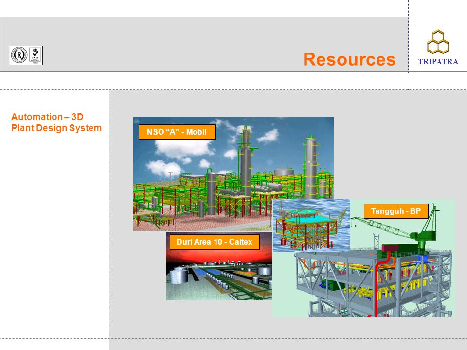 client's logo TRIPATRA Experience List Petrochemical and Industry No Project Title CapacityClient Contract Value US$Scope 1.Amonia Urea Optimization 570,000 MTA NH3 400,000 MTA Asean Aceh Fertilizer 500,000CD 2.Olefin RCC200,000 MTACNT / TEC500,000E 3.Formic Acid Plant11,110 MTAPT.