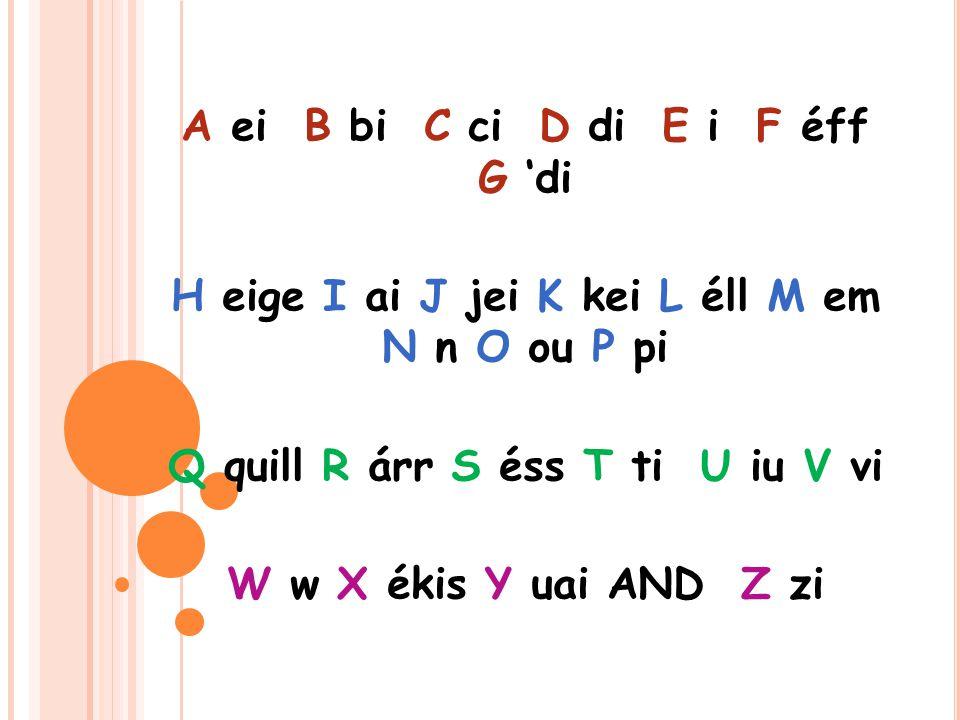 A ei B bi C ci D di E i F éff G 'di H eige I ai J jei K kei L éll M em N n O ou P pi Q quill R árr S éss T ti U iu V vi W w X ékis Y uai AND Z zi