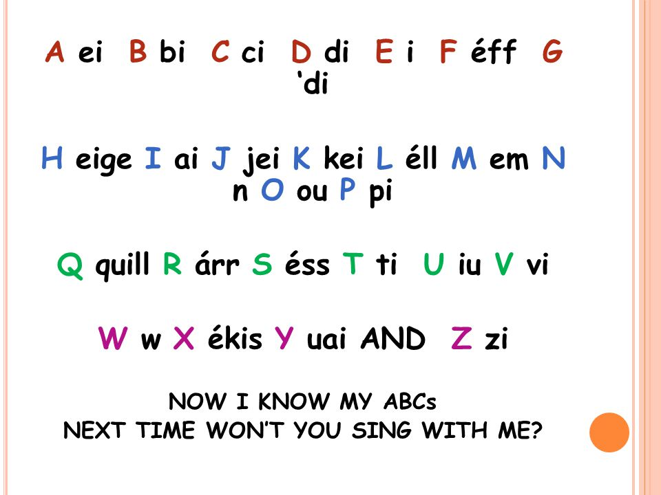 A ei B bi C ci D di E i F éff G 'di H eige I ai J jei K kei L éll M em N n O ou P pi Q quill R árr S éss T ti U iu V vi W w X ékis Y uai AND Z zi NOW I KNOW MY ABCs NEXT TIME WON'T YOU SING WITH ME