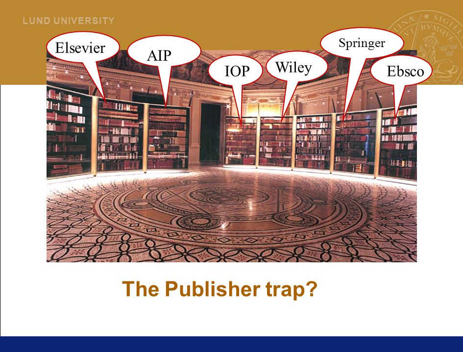 4 L U N D U N I V E R S I T Y AIP Springer Elsevier Wiley EbscoIOP The Publisher trap