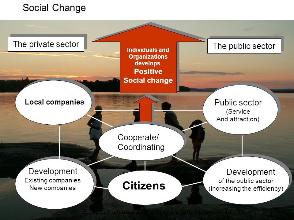 Individuals and Organizations develops Positive Social change Individuals and Organizations develops Positive Social change The private sector The pub