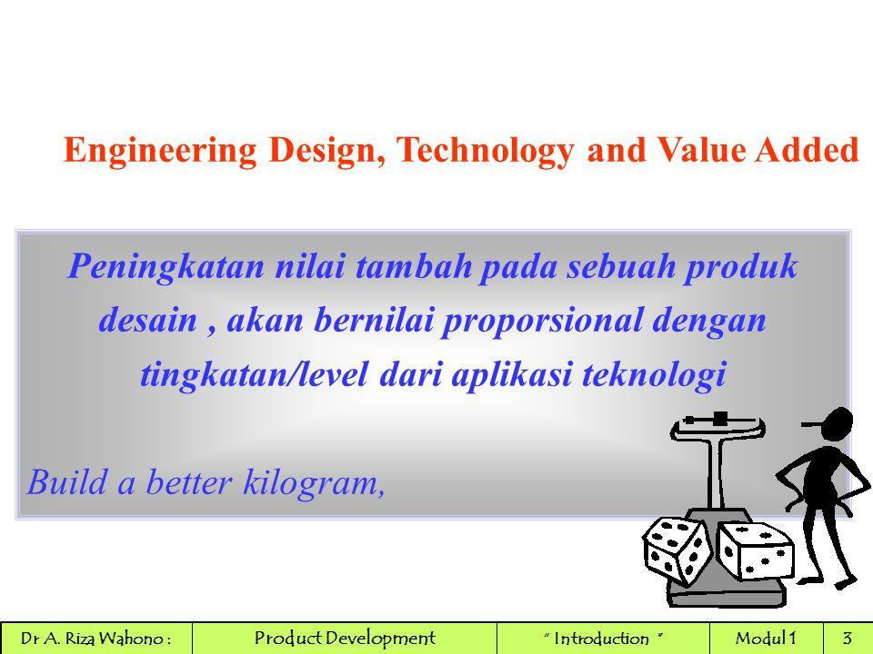 Engineering Design, Technology and Value Added Peningkatan nilai tambah pada sebuah produk desain, akan bernilai proporsional dengan tingkatan/level d