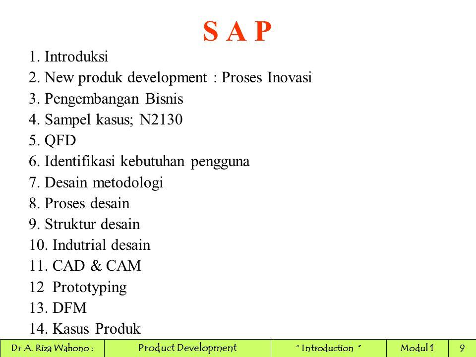 S A P 1. Introduksi 2. New produk development : Proses Inovasi 3. Pengembangan Bisnis 4. Sampel kasus; N2130 5. QFD 6. Identifikasi kebutuhan pengguna