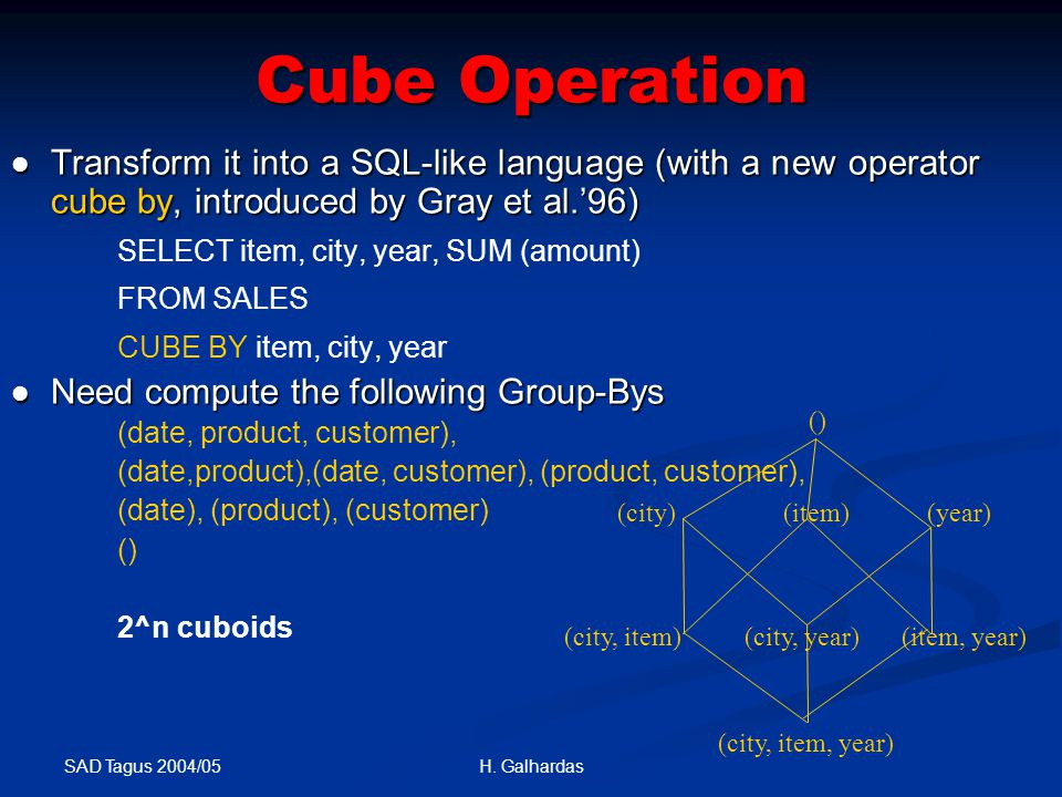 SAD Tagus 2004/05 H. Galhardas Cube Operation Transform it into a SQL-like language (with a new operator cube by, introduced by Gray et al.'96) Transf
