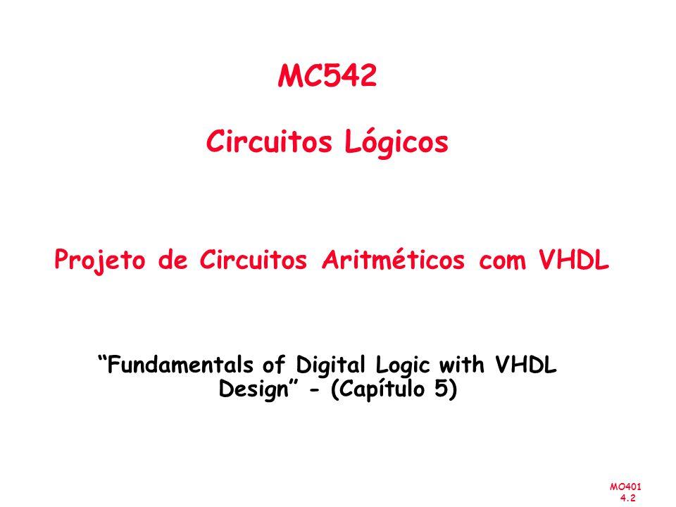 MO401 4.2 MC542 Circuitos Lógicos Projeto de Circuitos Aritméticos com VHDL Fundamentals of Digital Logic with VHDL Design - (Capítulo 5)