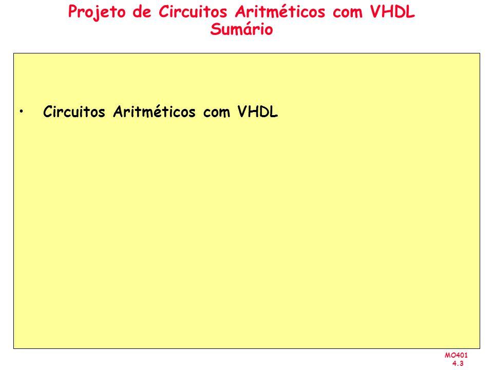 MO401 4.3 Projeto de Circuitos Aritméticos com VHDL Sumário Circuitos Aritméticos com VHDL