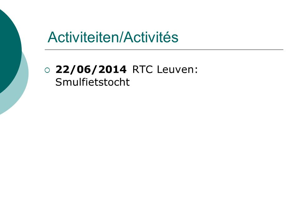 Activiteiten/Activités  22/06/2014 RTC Leuven: Smulfietstocht