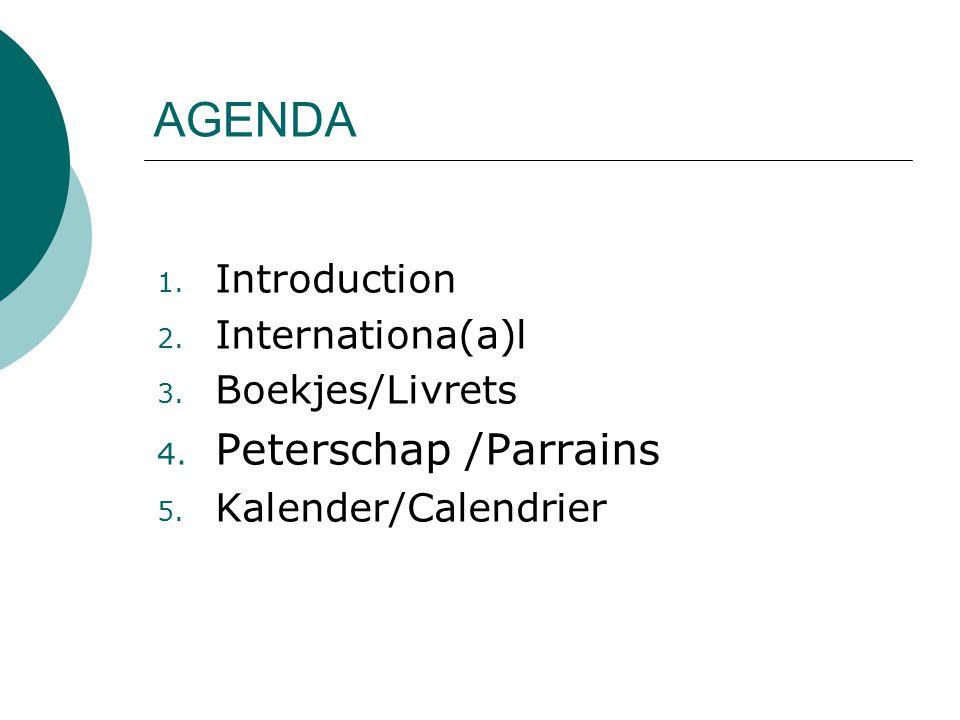 1. Introduction 2. Internationa(a)l 3. Boekjes/Livrets 4.