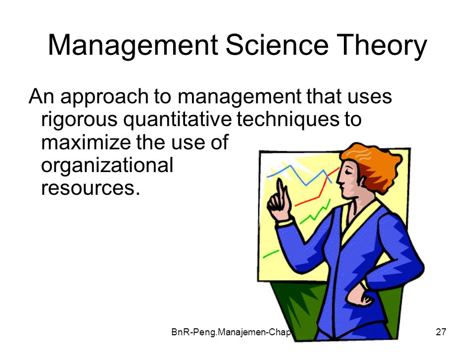 BnR-Peng.Manajemen-Chap-0527 Management Science Theory An approach to management that uses rigorous quantitative techniques to maximize the use of org