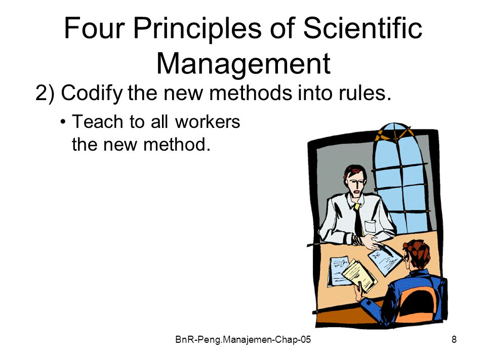 BnR-Peng.Manajemen-Chap-059 Four Principles of Scientific Management 3)Select workers whose skills match the rules.